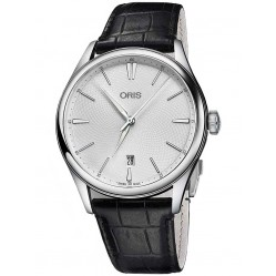 Oris Mens Artelier Date Black Leather Strap Watch 733 7721 4051-07LS