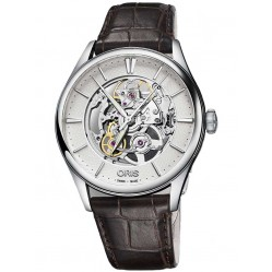 Oris Mens Artelier  Automatic Skeleton Strap Watch 734 7721 4051-07LS