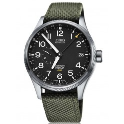 Oris Mens Big Crown ProPilot GMT Date Green Fabric Strap Watch 748 7710 4164-07TS GRY