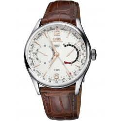 Oris Mens Artelier Calibre 113 Mechanical Brown Strap Watch 113 7738 4031-SET LS