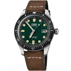 Oris Mens Green Brown Leather Strap Watch 733 7720 4057-07 5LS
