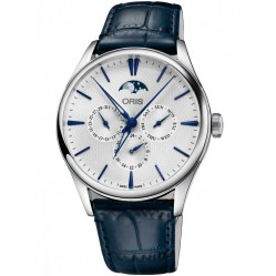Oris Mens Artelier Complication Blue Leather Strap Watch 781 7729 4051-07 5LS