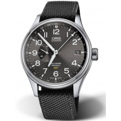 Oris Mens Big Crown ProPilot GMT Date Black Fabric Strap Watch 748 7710 4164-07