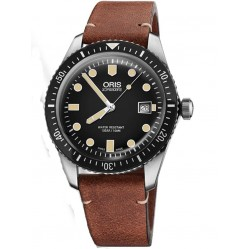 Oris Mens Divers Sixty-Five Brown Leather Strap Watch 733 7720 4054-07 LS