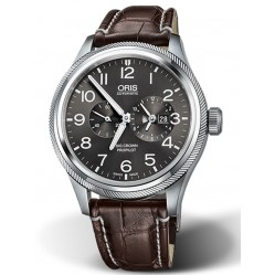 Oris Mens Big Crown ProPilot WorldTimer Brown Leather Strap Watch 690 7735 4063-07 LS