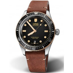 Oris Mens Divers Sixty-Five Brown Leather Strap Watch 01 733 7707 4354-07 5 20 45