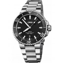 Oris Mens Aquis Date Black Bracelet Watch 733 7730 4154-07 8MB