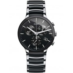 Rado Mens Centrix Chronograph Quartz Black and Silver Ceramic Bracelet Watch R30130152