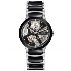 Rado Mens Centrix Automatic Open Heart Black and Silver Ceramic Bracelet Watch R30178152