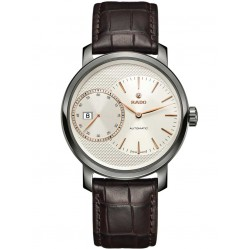 Rado Mens DiaMaster Automatic Ceramic Leather Strap Watch R14129116