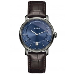 Rado Mens DiaMaster Blue Dial Black Leather Strap Watch R14135206