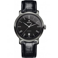 Rado Mens DiaMaster Automatic Black Dial Leather Strap Watch R14806156