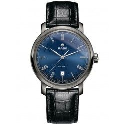 Rado Mens DiaMaster Automatic Blue Dial Black Leather Strap Watch R14806206