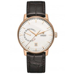 Rado Mens Coupole Classic Automatic Power Reserve Brown Leather Strap Watch R22879025