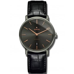 Rado Mens DiaMaster Grey Ceramic Black Leather Strap Watch R14067156