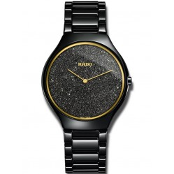 Rado Mens True Thinline Black Glitter Dial Ceramic Bracelet Watch R27009152