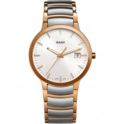 Rado Mens Centrix Quartz Grey and Rose Ceramic Bracelet Watch R30554103