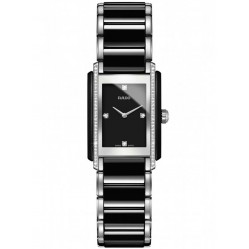 Rado Ladies Integral Diamonds Quartz Black and Silver Ceramic Bracelet Watch R20217712 S