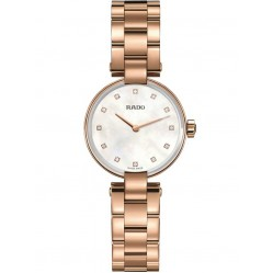 Rado Ladies Coupole Diamonds Quartz Rose Tone Bracelet Watch R22855923 S