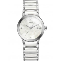 Rado Ladies Centrix Quartz White and Silver Ceramic Bracelet Watch R30928902 S