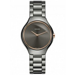 Rado Ladies True Thinline Quartz Grey Ceramic Bracelet Watch R27956132 S