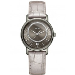 Rado Ladies DiaMaster Diamonds Quartz Silver Leather Strap Watch R14064715