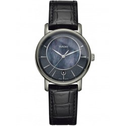 Rado Ladies DiaMaster Dark Blue Mother Of Pearl Dial Leather Strap Watch R14064915
