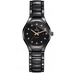 Rado Ladies True Diamonds Automatic Black Ceramic Bracelet Watch R27242732