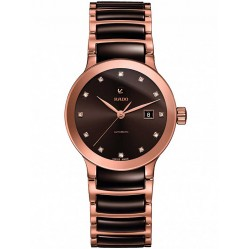 Rado Ladies Centrix Diamonds Automatic Brown and Rose Ceramic Bracelet Watch R30183752
