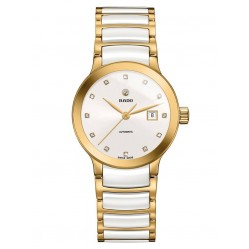Rado Ladies Centrix Diamonds Automatic White and Gold Ceramic Bracelet Watch R30080752