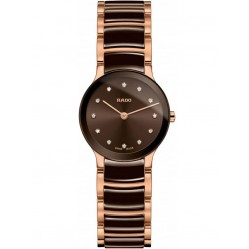 Rado Ladies Centrix Diamonds Quartz Brown and Rose Ceramic Bracelet Watch R30190702