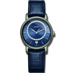Rado Ladies DiaMaster Diamond Set Dial Blue Ceramic Leather Strap Watch R14064725