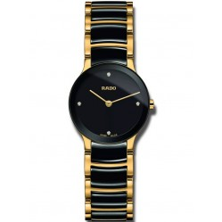 Rado Ladies Centrix Diamonds Quartz Black and Gold Ceramic Bracelet Watch R30189712