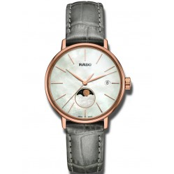 Rado Ladies Coupole Moonphase Pearl Dial Grey Leather Strap Watch R22885945