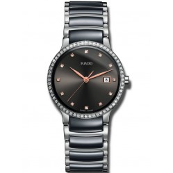 Rado Ladies Centrix Diamonds Quartz Grey and Silver Ceramic Bracelet Watch R30936732