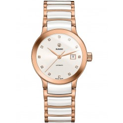Rado Ladies Centrix Diamonds Automatic White and Rose Ceramic Bracelet Watch R30183742