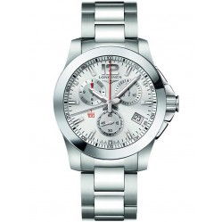 Longines Conquest Chronograph Silver Dial Bracelet Watch L37004766