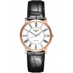 Longines Elegant 18ct Rose Gold White Dial Black Leather Strap Watch L47788110