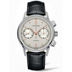 Longines Heritage Chronograph 1940 Black Leather Strap Watch L28144760