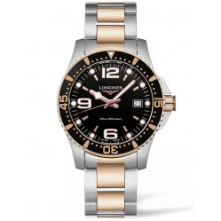Longines HydroConquest Quartz Black Dial Two Colour Bracelet Watch L37403587