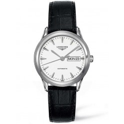 Longines Flagship White Dial Black Leather Strap Watch L48994122