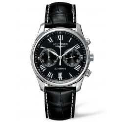 Longines Master Black Chronograph Dial Leather Strap Watch L26294517