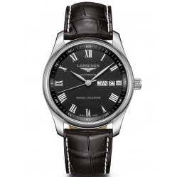 Longines Master Calendar Black Dial Leather Strap Watch L29104517
