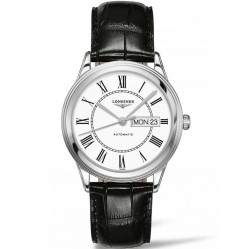 Longines Flagship White Dial Black Leather Strap Watch L48994212