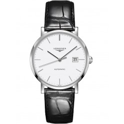 Longines Elegant White Dial Black Leather Strap Watch L49104122