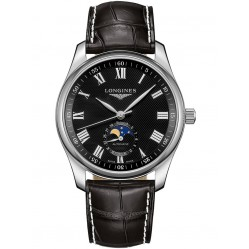 Longines Master Automatic Black Dial Leather Strap Watch L29094517