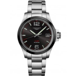 Longines Conquest V.H.P. Black Dial Silver Bracelet Watch L37194566