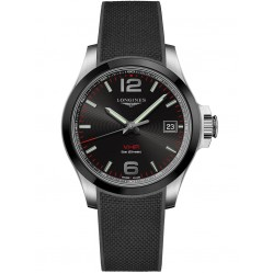 Longines Conquest V.H.P. Black Dial Rubber Strap Watch L37194569
