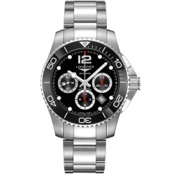 Longines Hydroconquest Automatic Chronograph Black Dial Silver Bracelet Watch L38834566