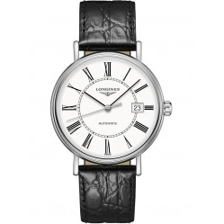 Longines Presence Automatic White Dial Black Leather Strap Watch L49224112